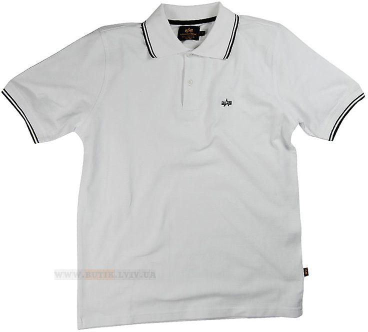 Футболка Twin Stripe Polo Alpha Industries (біла)  Розміри: S,M,L,XL,2XL,3XL,4XL,5XL (під замовлення)  Ціна: 41 $