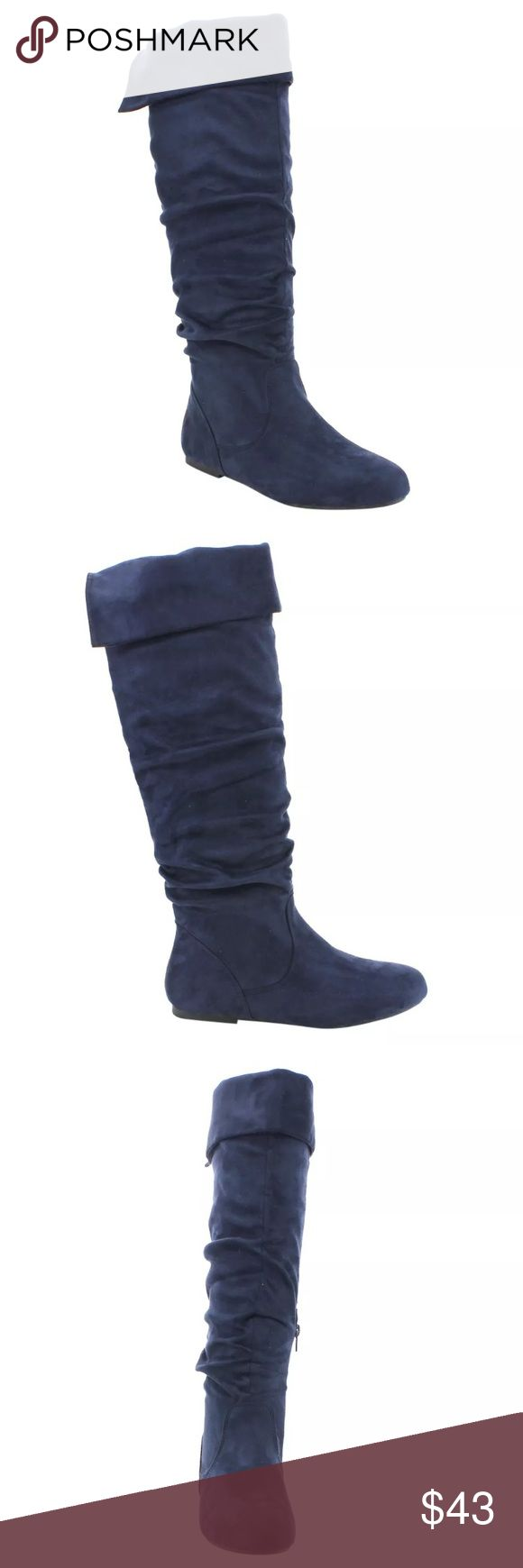 List! Navy Slouchy Suede Knee Boots! NEW! Vegan leather suede. Slouchy fit with cuffed top. Partial inside zip. Shaft height 18.75 inches tall. Shaft circumference 15.5 inches. Heel height 0.25 inches. Boutique Shoes Over the Knee Boots