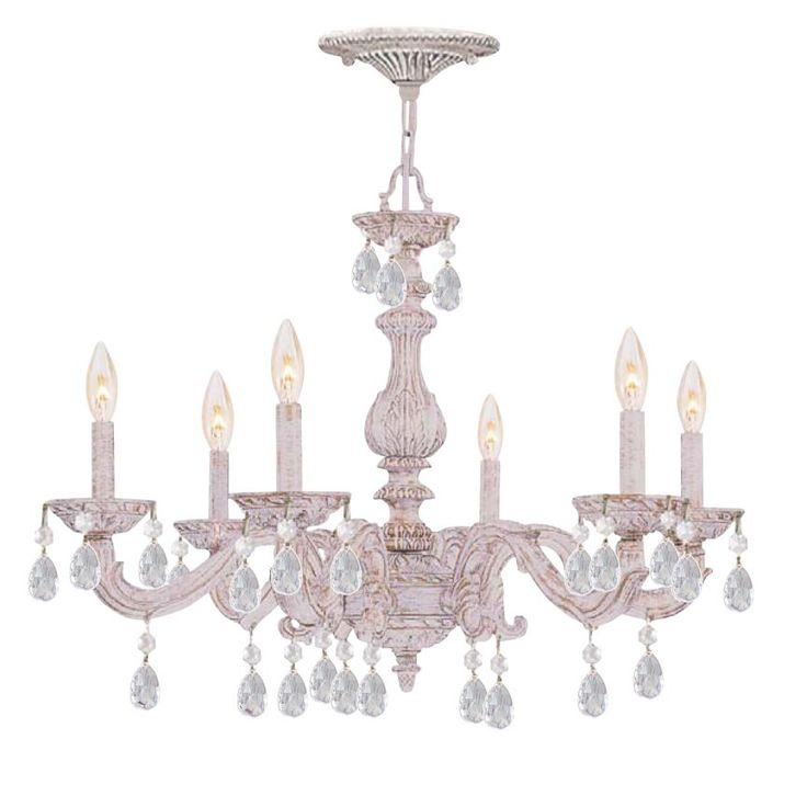 White Shabby Chic Chandelier With Crystals