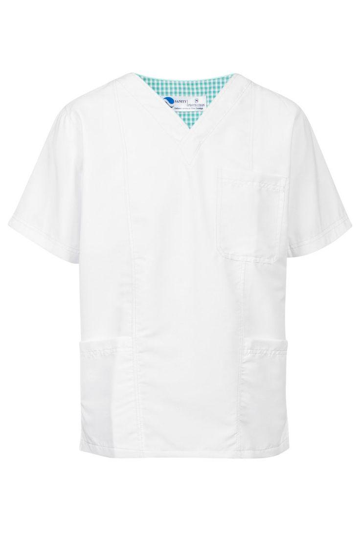 Casaca sanitaria blanca de hombre de tejido de microfibra con pespuntes en color turquesa. Es de cuello de pico y tiene tres bolsillos delanteros. Posee aperturas laterales para mayor comodidad y su tejido es antifluidos ya que éstos no traspasan. Tienes el pantalón a juego y el conjunto de mujer. ¡Te gustará! #MasUniformes #RopaLaboral #UniformesDeTrabajo #VestuarioOnline