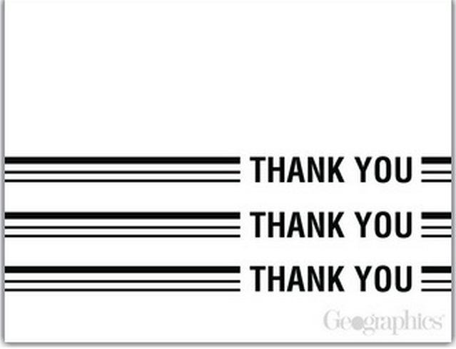 Black and White Thank You Cards w/Envelopes, 4.25x5.5, 12/PK