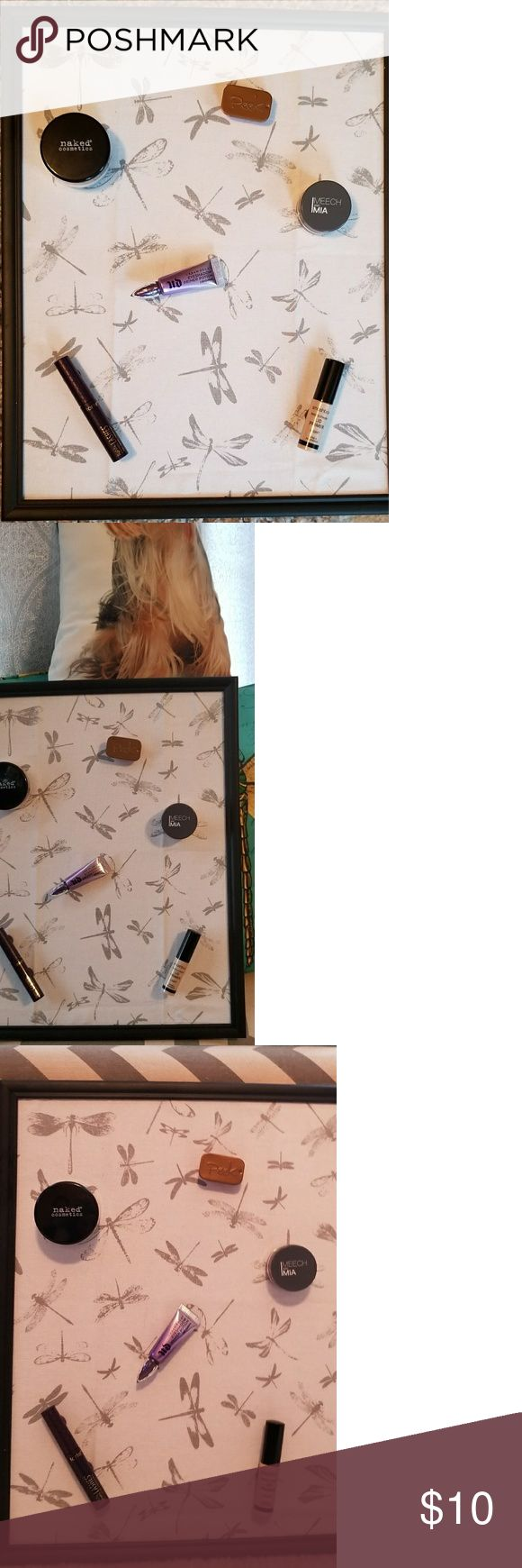 Magnetic makeup board 11x13 black frame with dragonfly print make-up board. (Make-up not included) Glue a magnet to your favorite make-up and hang on wall for easy access. Bundle and save Makeup
