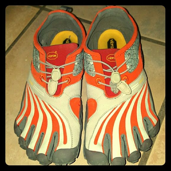 Vibram Five Toe Shoes Orange and grey Spyridon Vibrams.  Only worn a couple of times. Vibram Shoes Sneakers