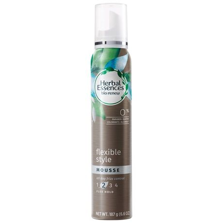 Flexible Style Mousse | Herbal Essences. Mousse has 0% parabens, gluten, alcohol* and colorants