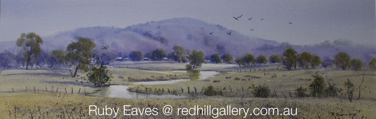 "Ruby Eaves Watercolour Painting ""Meandering Stream"" 61x20cms. Red Hill Gallery, Brisbane redhillgallery.com.au"