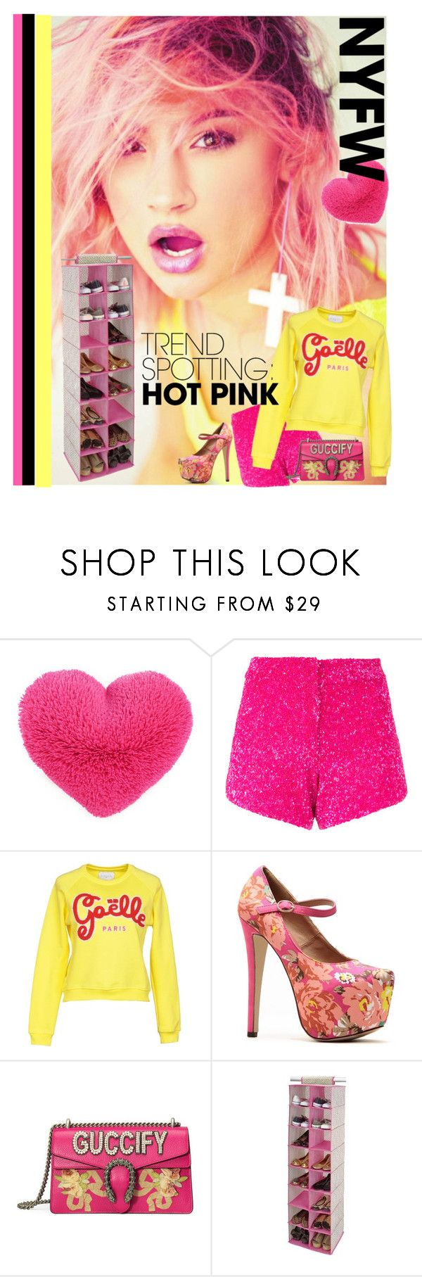 """warm up your look w/the hottest spring trends"" by diananicoleparsons ❤ liked on Polyvore featuring Manish Arora, GaÃ«lle Bonheur, Gucci, contestentry and NYFWHotPink"