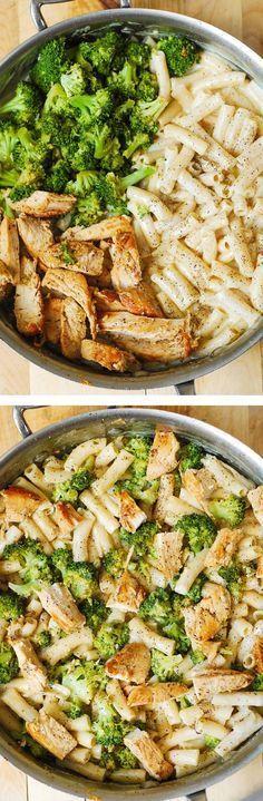 Chicken Broccoli Alfredo Penne Pasta - with homemade white cheese cream sauce.