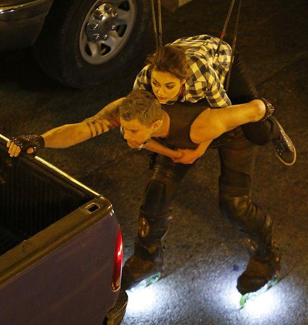 Channing Tatum and Mila Kunis film upcoming Sci-Fi movie 'Jupiter Ascending' in Chicago, Illinois.