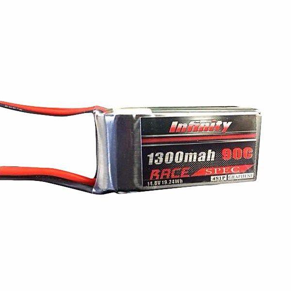 Infinity 1300mah 14.8V 90C 4S1P Race Spec Lipo Battery https://www.fpvbunker.com/product/infinity-1300mah-14-8v-90c-4s1p-race-spec-lipo-battery/    #quads