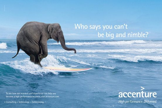 After being embarrassed by Tiger Woods, Accenture turned to animals. This one suggesting that they (or their clients) are nimble elephants. Does this make you want to sign a six figure purchase order?
