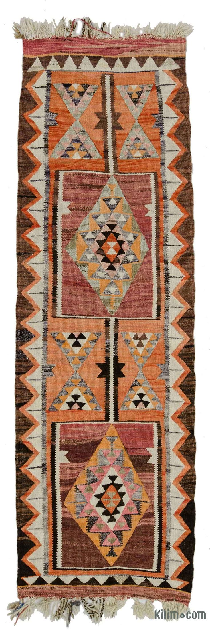 Vintage kilim runner rug from Hakkari area in Eastern Anatolia, Turkey. This tribal kilim was hand-woven in 1960's and it is in very good condition.