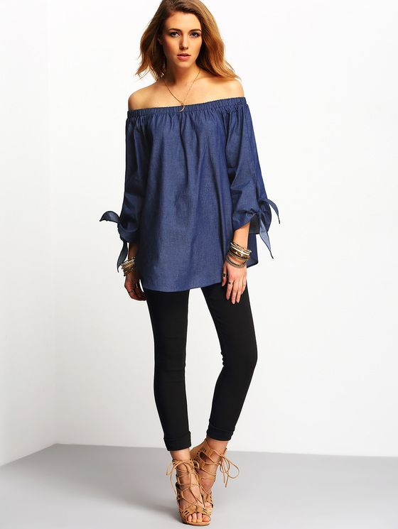 Online shopping for Off The Shoulder Denim Top DENIM from a great selection of women's fashion clothing & more at MakeMeChic.COM.