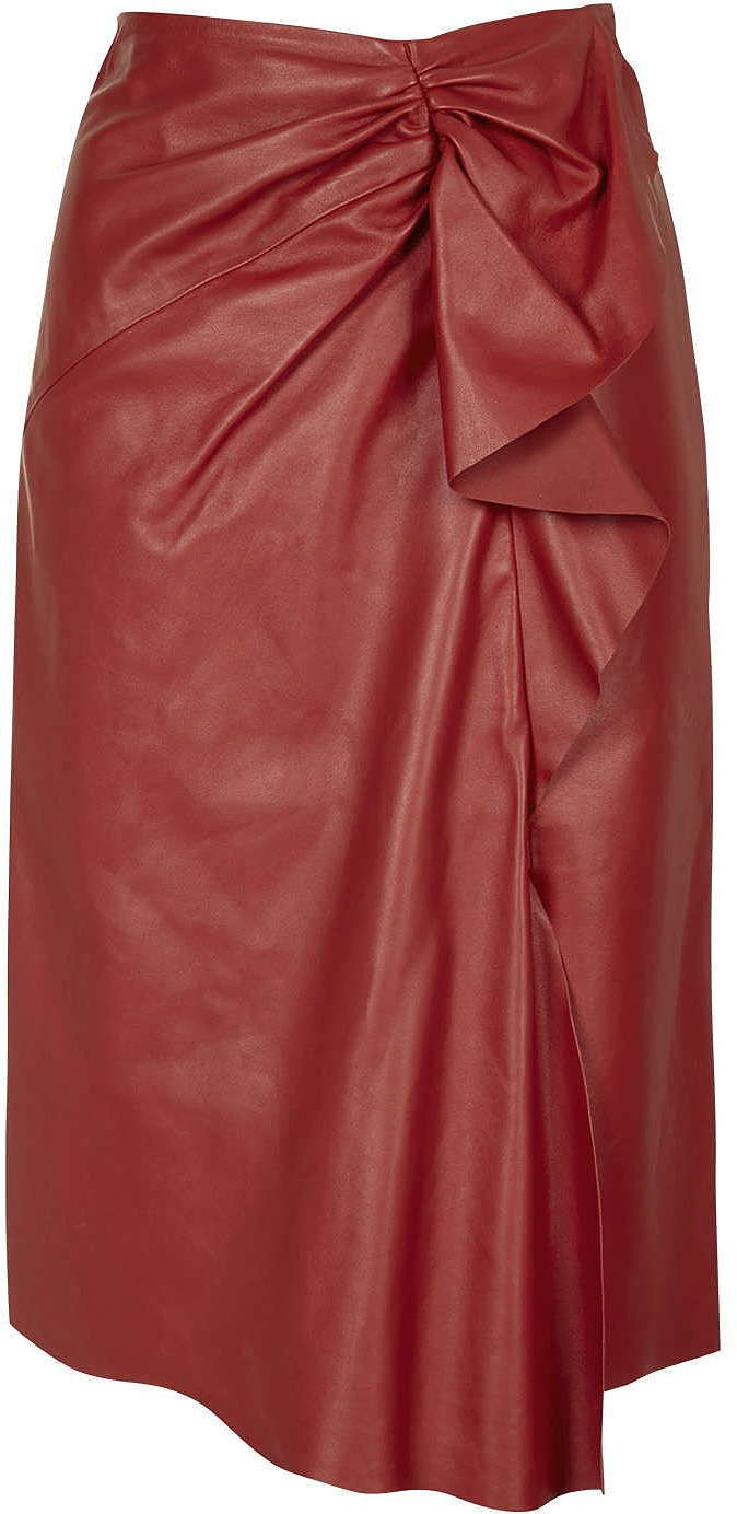 Womens carmine symons leather skirt by unique - red, red from Topshop - £295 at ClothingByColour.com