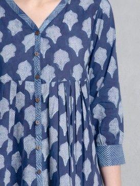 Indigo Hand Block Printed Cotton Top by Aavaran