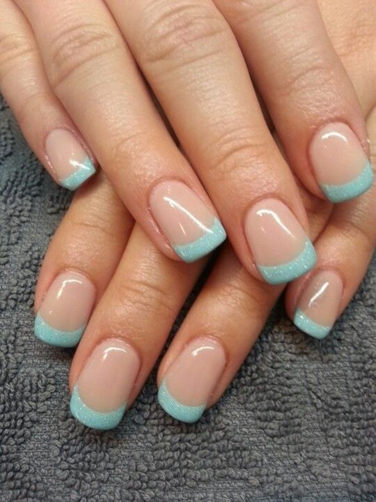 Nude and teal French manicure