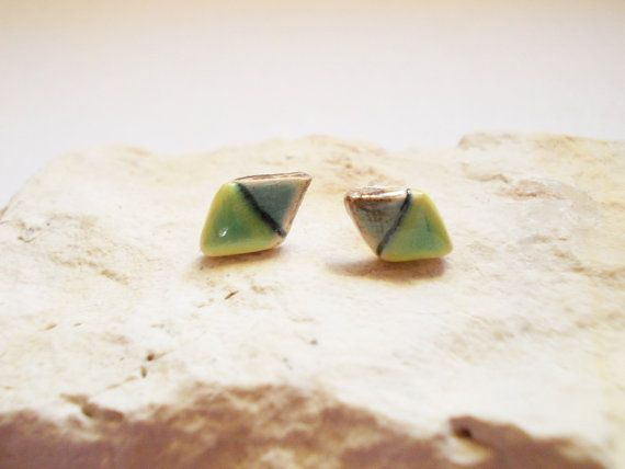 Geometric studs ceramic earrings.Porcelain by CherishCeramics