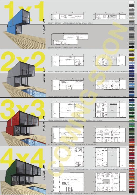 Container homes - floor plans - LOT-EK announced their Container Home Kit, a