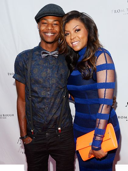 Taraji P. Henson - 2014 With her son, Marcel Henson, at a screening of From the Rough in Hollywood