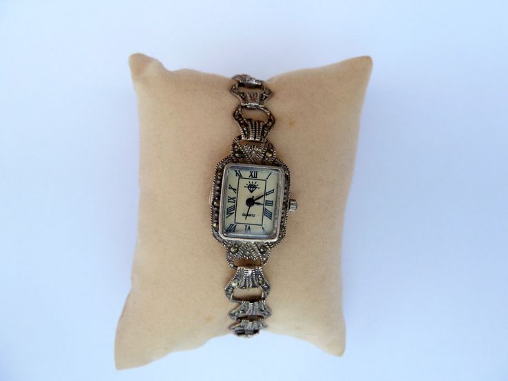 Free shipping sterling silver watch with marcasite stones,gift for her,vintage watch,gift for Mom, Christmas gift by Mammastreasure on Etsy