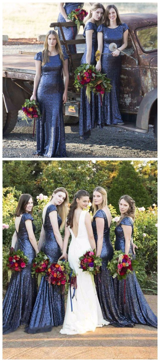 Blue Sequin Bridesmaid Dresses,Mermaid Bridesmaid Dress,V-Back bridesmaid