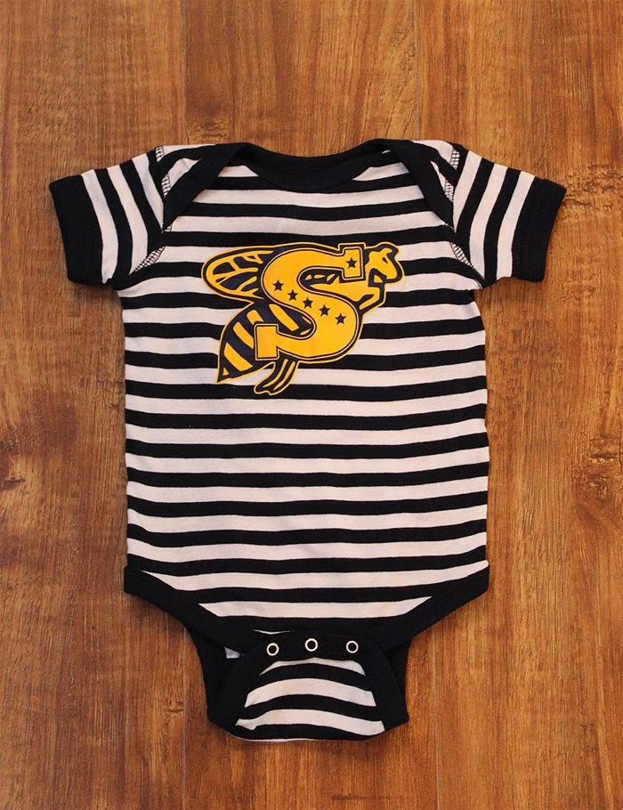 Show off your adorable little one in this Stephenville Jackets striped onesie