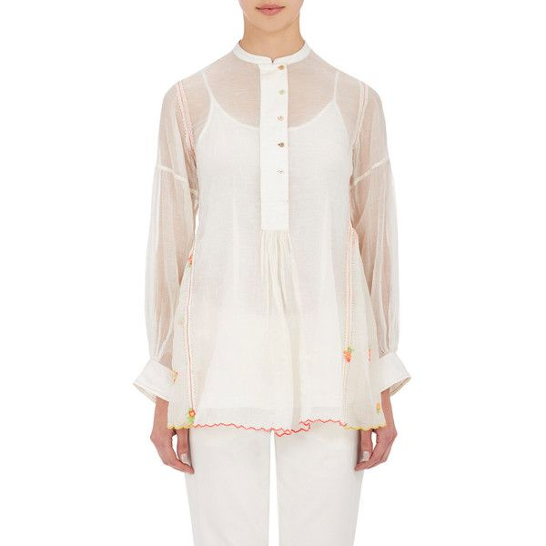 Pero Women's Embroidered Smock Top ($420) ❤ liked on Polyvore featuring tops, blouses, white, white blouse, white embroidered top, white cami, cami top and embroidery blouse