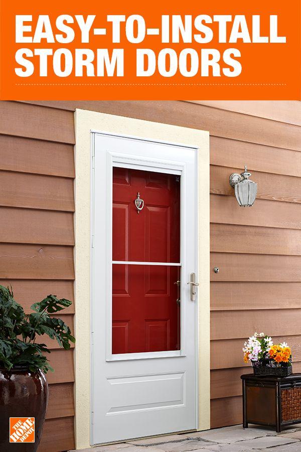 Emco 36 In X 80 In 400 Series White Universal Self Storing Aluminum Storm Door With Nickel Hardware E4sn36wh The Home Depot Storm Door Aluminum Storm Doors Doors