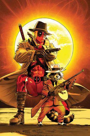 Rocket_Vol_1_4 En la lam y en la cuneta, Rocket necesita dinero en efectivo - mucho, y ayer.   Eso significa pistolas de tommy al amanecer - como Rocket roba de un mafioso interplanetario que hace que el Kingpin se parezca a tía May! Invitado-starring Deadpool, el payaso triste del espacio! Nyah, compra, ¿ves?