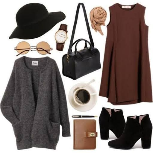 Fall outfit   autumn hued dress, oversized sweater, wide brim hat, booties