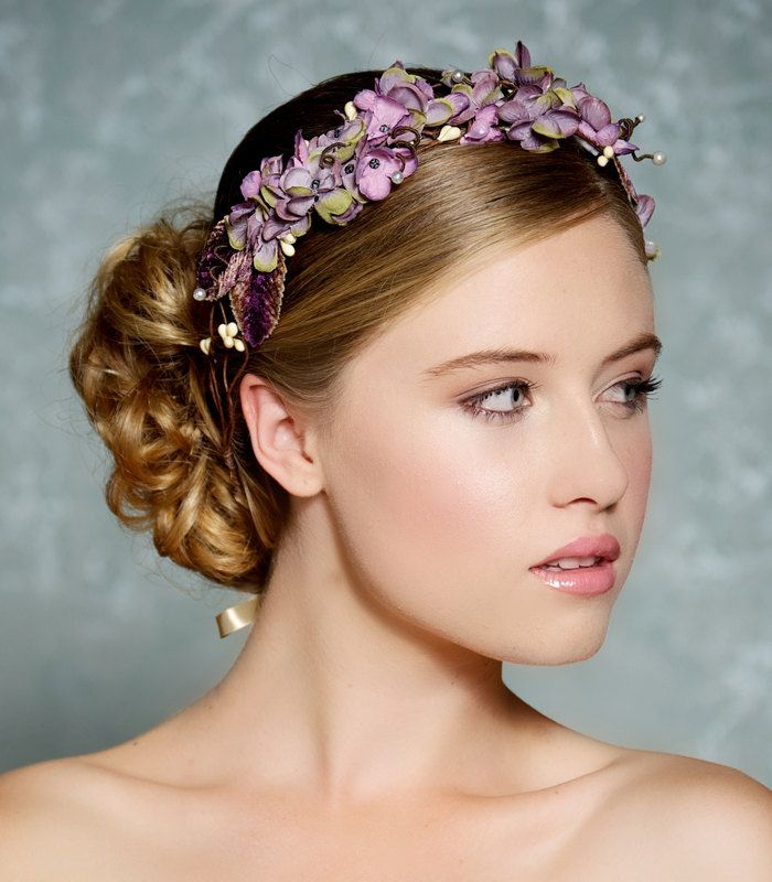 Plum Lavender Flower Hair Crown Bridal Hair Wreath Woodland Rustic ...