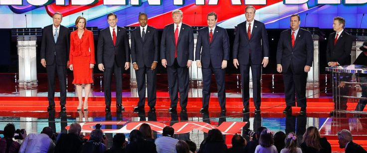 """Vanessa Friedman, """"Republican Debate Has Candidates Seeing Red,"""" The NY Times (16 December 2015). The downside—that matching outfits made the seven candidates resemble nothing so much as a political conga line—was presumably deemed an acceptable risk."""