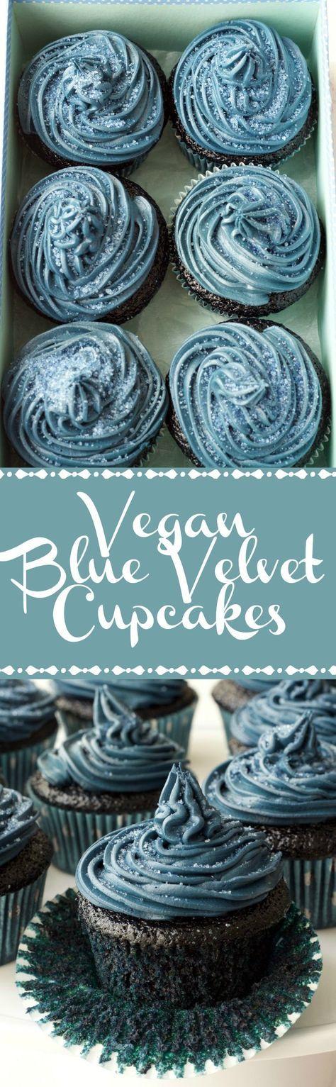 Vegan Blue Velvet Cupcakes with Blue Velvet Frosting - Moist, spongey, and delicious! Vegan   Vegan Cupcakes   Vegan Cakes   Vegan Food