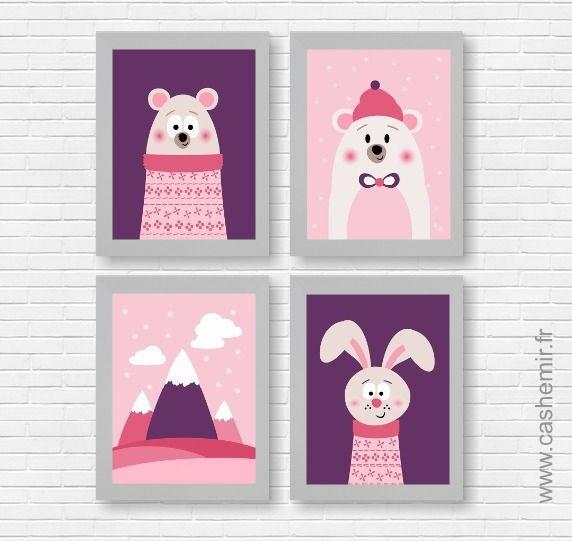Affiches pour enfant, illustration, décoration chambre enfant bébé, poster fille, ours polaire montagne lapin n10 : Décoration pour enfants par cashemir