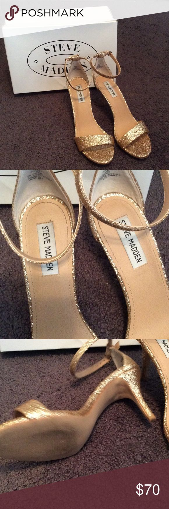 Steve Madden heels💕 Beautiful gold strapped heels, perfect for a night out. Brand new heels, worn once & come with the box. ❤️❤️ Steve Madden Shoes Heels