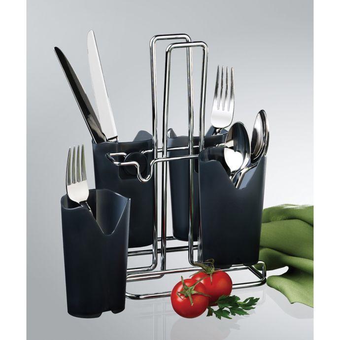 Prodyne Bravada Flatware Caddy In Black Chrome Flatware Caddy Cutlery Caddy Silverware Caddy
