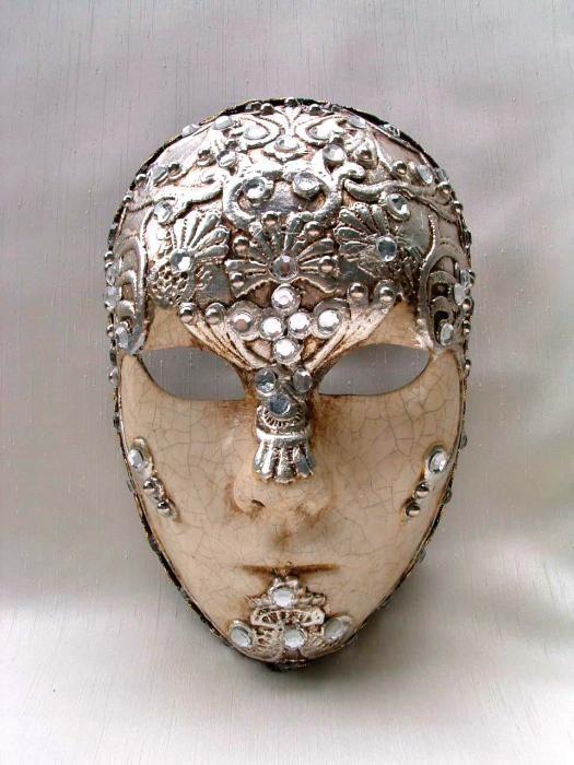 Full Face Silver Macrem� - Handmade Venetian Masks from Venice, Italy - 1001 Venetian Masks