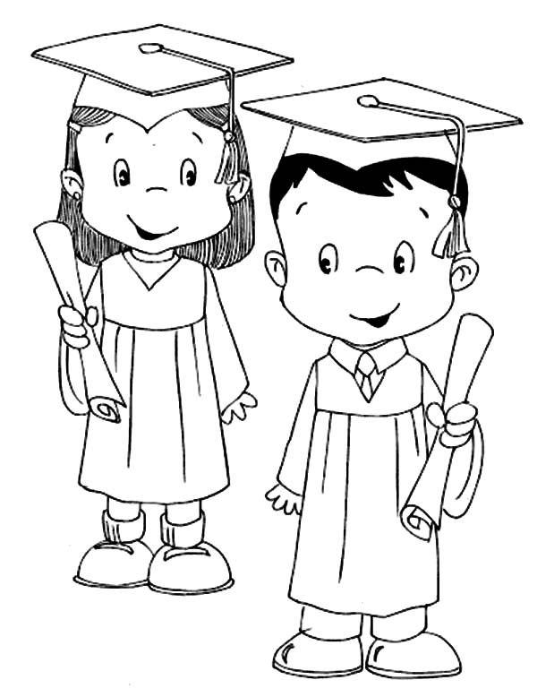 Graduation Couple Coloring Pages Color Luna Cake Preschool