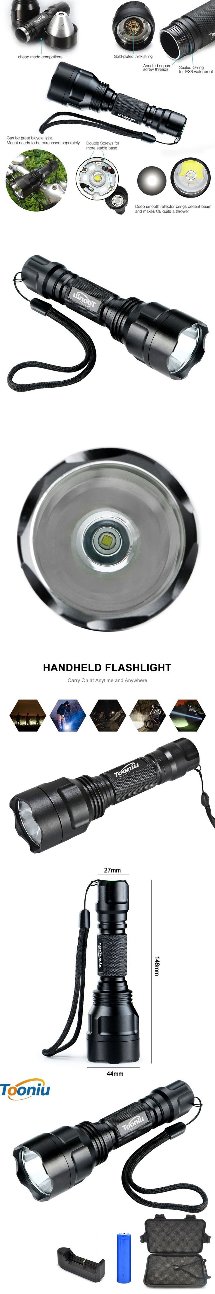 LED Flashlight XML-L2 8000LM C8 Tactical  LED Flashlight Aluminum Hunting Flashlight Torch Lamp +18650+Charger