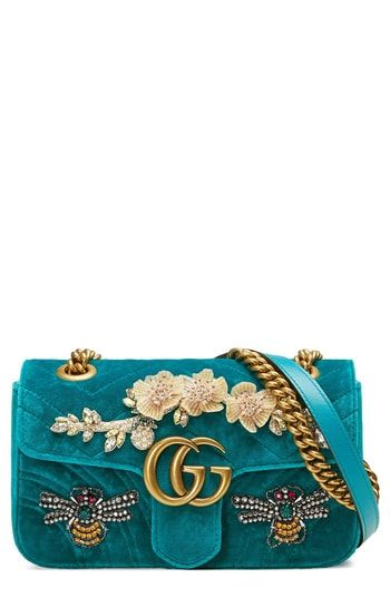 Gucci Mini GG Marmont Matelassé Velvet Shoulder Bag  8363799670032