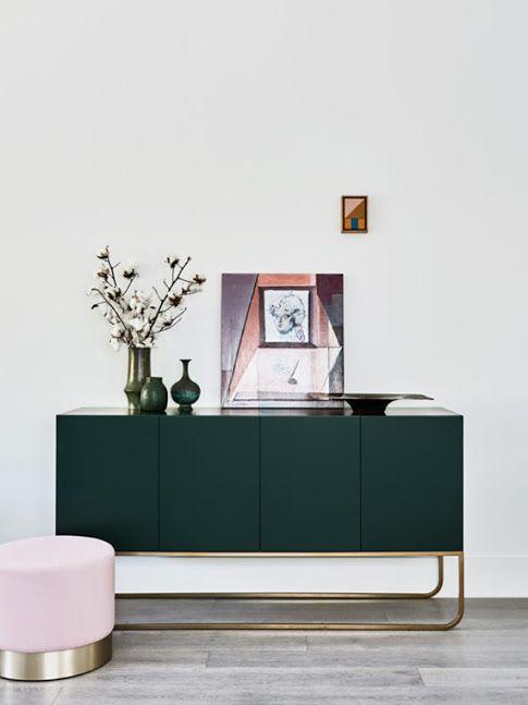 Deep green sideboard and baby pink ottoman via Huntly