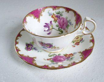 Vintage tazas de té Vintage rosa taza té y plato, Aynsley rosa lavanda Floral, de, Inglés Bone China taza de té Set, Vintage taza y plato
