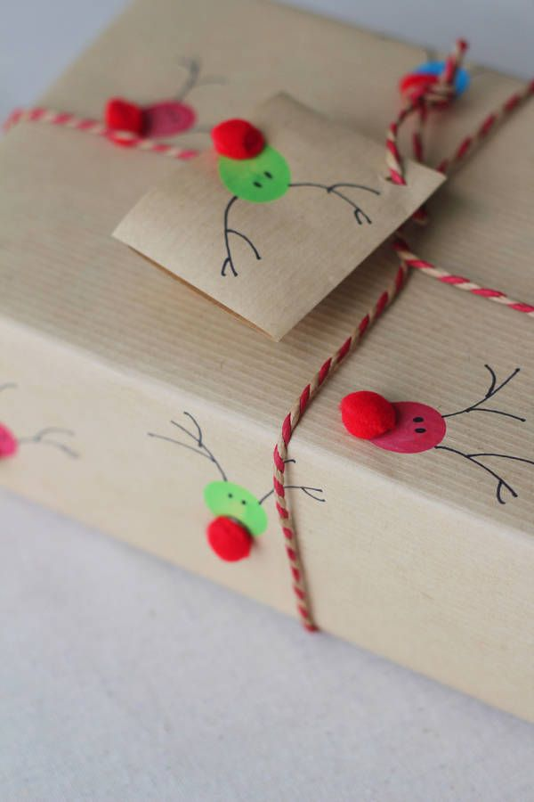 Do your kids want to get in on the gift wrapping fun, but you don't want to let them wield the scissors? These fingerprint reindeers not only let your little ones contribute, but also make the wrapping paper a present, too. Find the directions at Splash of Something.   - HouseBeautiful.com