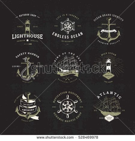 Set of Invert Vintage Nautical Typographical Logos