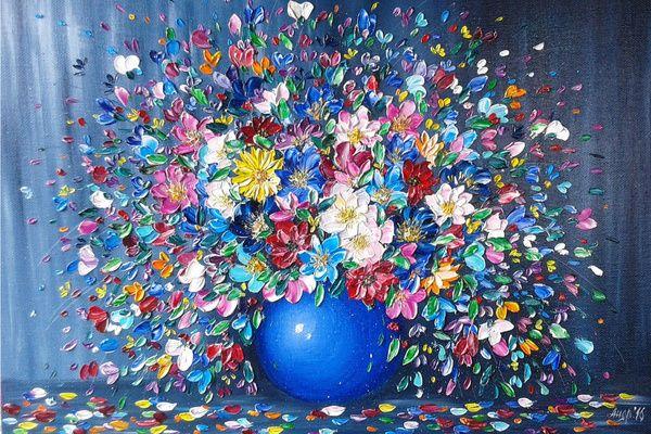 Моя мастихинная живопись картина маслом, картина цветы, разноцветье, ElenaAndreeva, живопись, мастихин, позитив