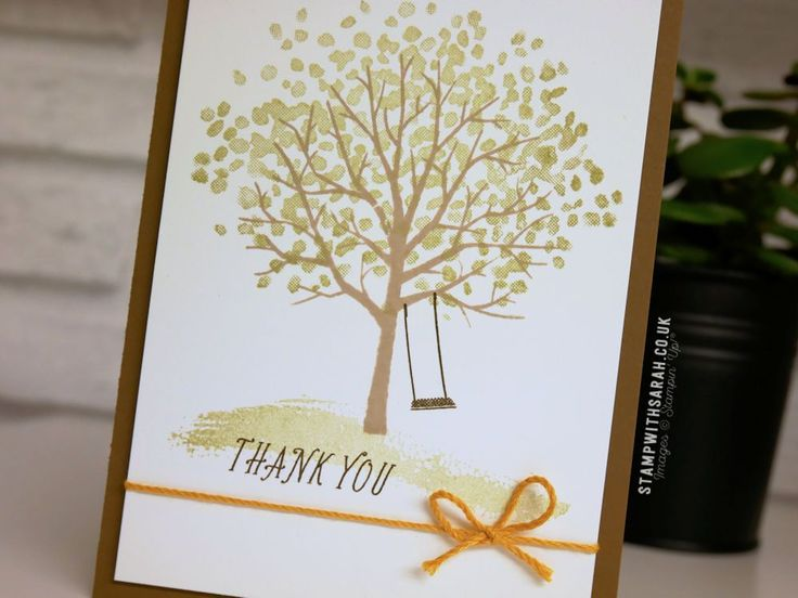 Sarah Berry Stampin' Up! UK Independent Demonstrator |  Sending thanks with the Sheltering Tree stamp set Can you believe it, I thought I'd already shared this card with you but got my …