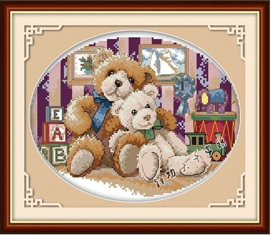 New Stamped Cross Stitch Kits Two Teddy Bears Design Cloth Size: 15*12inch #EverlastingLove #Frame