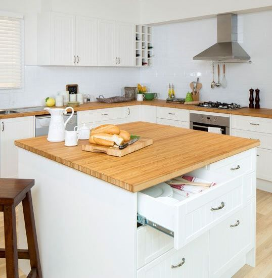 Kaboodle Kitchen - Square Island Benchtop, Available at Bunnings #country #bamboo #antiquebowhandles