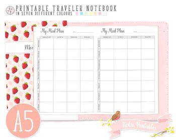 A5 Weekly Meal Plan Traveler Notebook Refill
