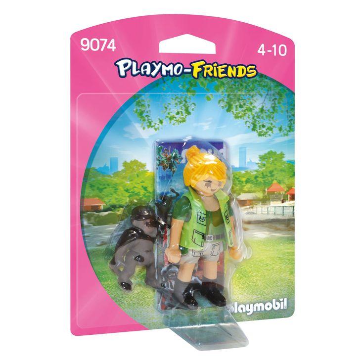 Verzorg de baby gorilla met deze Playmobil dierenverzorger. Geef haar de fles en speel samen spelletjes. - Playmobil 9074 Dierenverzorger met Baby Gorilla