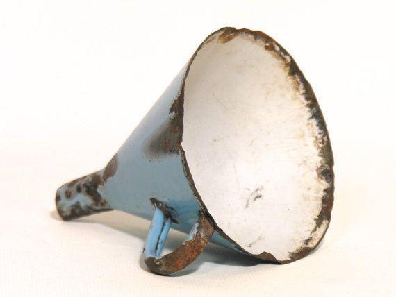 Vintage Blue Enamel Funnel  Mid Century Enamel by LArriereBoutique